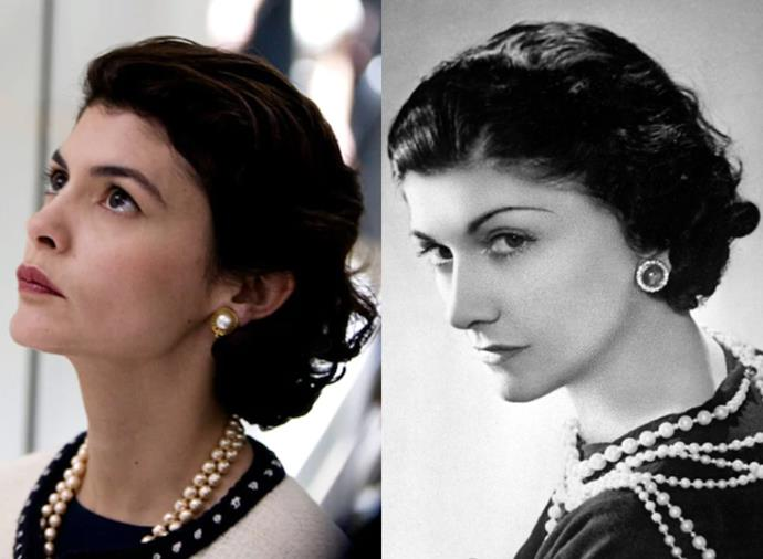 """**Audrey Tatou as Gabrielle """"Coco"""" Chanel in** ***Coco Avant Chanel*** **(2009)**<br><br>  Acclaimed French actress Audrey Tatou stepped into the two-toned shoes of the inimitable Gabrielle """"Coco"""" Chanel in a biopic about her life before she gained fashion fame in the 2009 film *Coco Avant Chanel*. Besides the clothes, Tatou took on Chanel's gamine haircut and penchant for pearls to complete the transformation."""