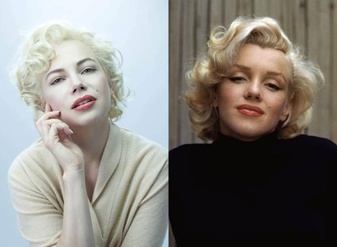 """**Michelle Williams as Marilyn Monroe in** ***My Week With Marilyn*** **(2011)**<br><br>  In addition to adopting Marilyn Monroe's famous platinum 'do, Michelle Williams embodied the former icon through her unique mannerisms, [citing](https://deadline.com/2012/02/oscars-qa-michelle-williams-on-how-she-morphed-into-marilyn-monroe-229144/