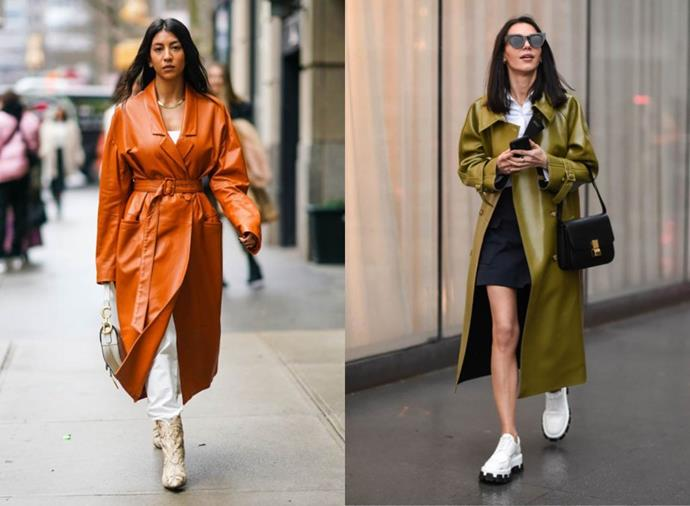 "**Leather Coated**<br><br>  One of the biggest [street style trends from New York Fashion Week](https://www.elle.com.au/fashion/nyfw-street-style-trends-23043|target=""_blank"") autumn/winter '20, the leather coat is taking over from where 2019's [shiny vinyl trench](https://www.elle.com.au/fashion/vinyl-trench-coat-21009