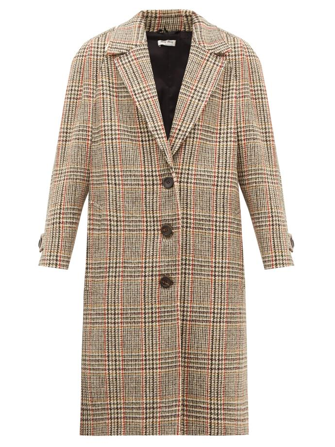"**Check Mate**<br><br>  Single-breasted checked wool-tweed coat by Miu Miu, $3,795 at [MATCHESFASHION.COM](https://fave.co/3e6JNUv|target=""_blank""