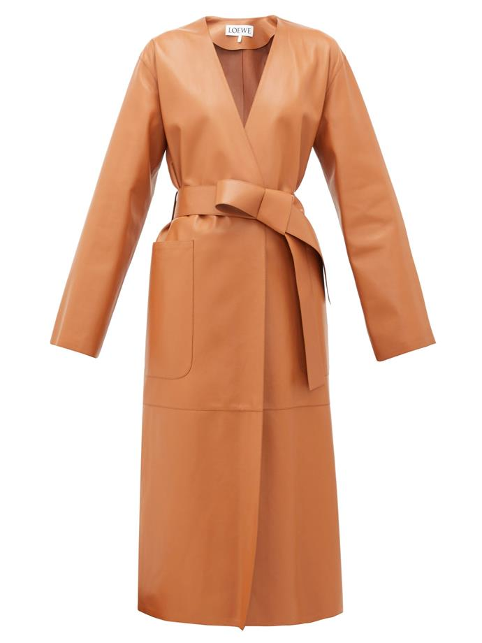 "**Leather Coated**<br><br>  Collarless belted leather coat by Loewe, $6,165 at [MATCHESFASHION.COM](https://fave.co/3d72hmq|target=""_blank""