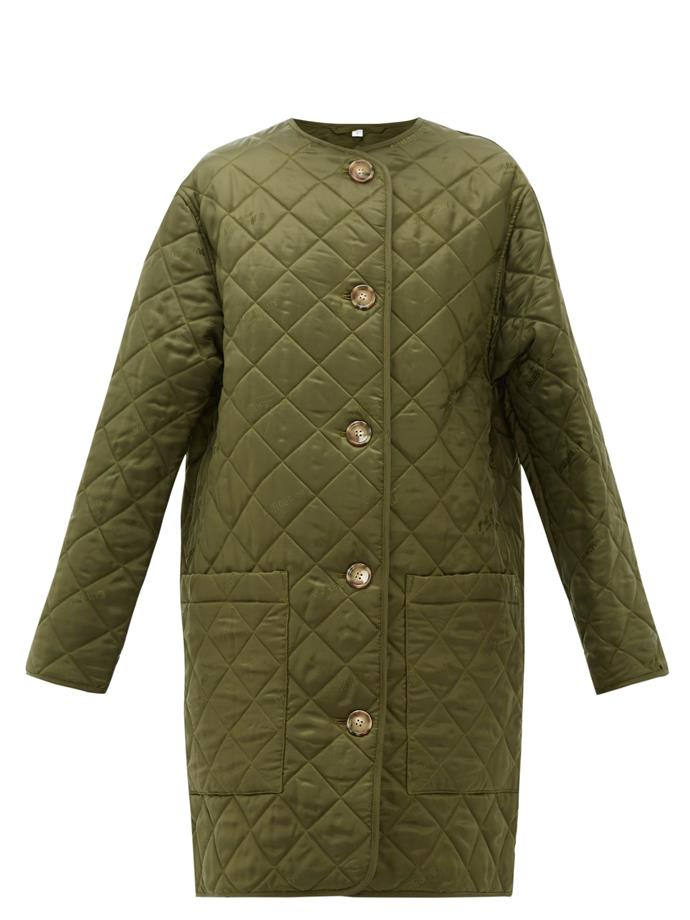 "**Quilted Cuts**<br><br>  Bardsey diamond-quilted collarless coat by Burberry, $912 at [MATCHESFASHION.COM](https://fave.co/30GjaC6|target=""_blank""