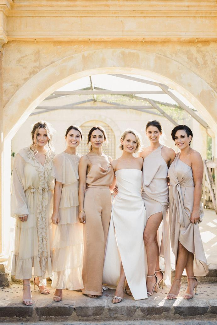 **On her bridesmaids' dresses:** I gave my bridesmaids a colour palette and detailed brief and worked with them to create or chose their own outfits. I wanted them in different silhouettes, shades and fabrics to create depth. It all came together beautifully.