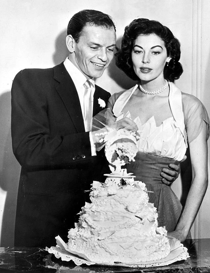 """**Frank Sinatra and Ava Gardner**<br><br>  Considered one of the '40s and '50s most infamous Hollywood couples, jazz crooner Frank Sinatra [began dating](https://www.jazziz.com/im-a-fool-to-want-you-the-love-story-of-frank-sinatra-and-ava-gardner/ target=""""_blank"""" rel=""""nofollow"""") actress Ava Gardner while still married to his wife Nancy, with whom he shared three children. He eventually left Nancy for Gardner, who he married in 1951 (pictured here on their wedding day). But that wasn't the end of the drama. Sinatra's affairs (of which he had many throughout his life) did not end there. The singer was also unfaithful to Gardner in their marriage, and the ultimately divorced in 1957."""