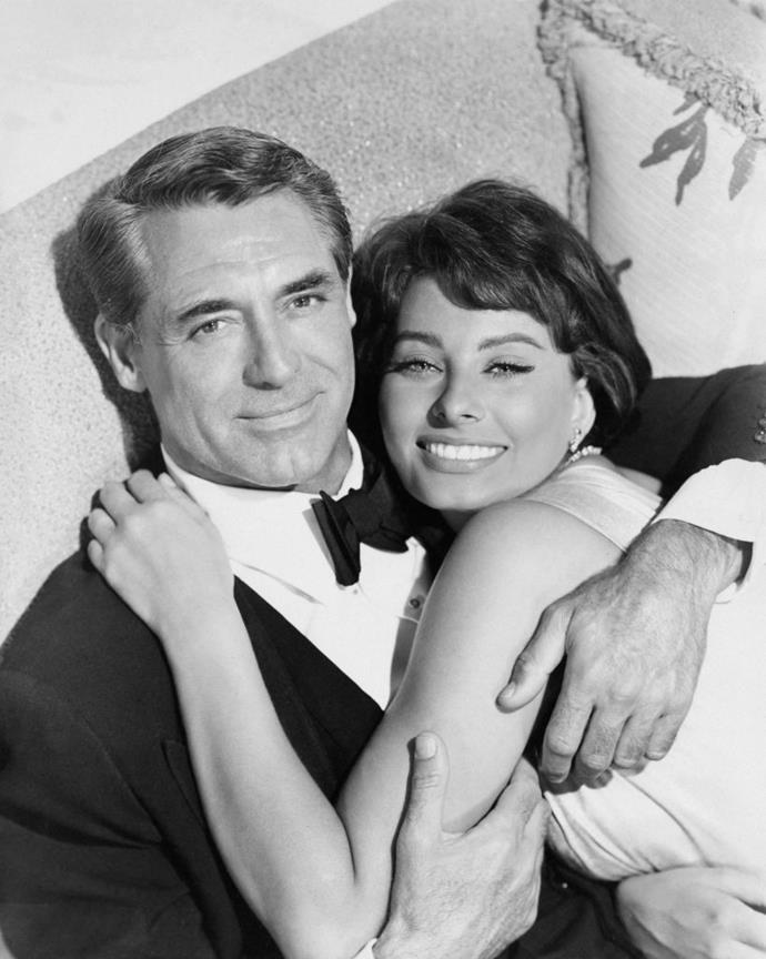 """**Sophia Loren and Cary Grant**<br><br>  The old Hollywood heartthrob first shared the silver screen with the Italian siren in 1958's *Houseboat*. Cary Grant's wife at the time, actress Betsy Drake, wrote the original script for *Houseboat*, in which she was cast alongside her husband in the film. As the [story](https://www.theguardian.com/film/2014/oct/19/sophia-loren-reveals-the-story-of-cary-grants-passion target=""""_blank"""" rel=""""nofollow"""") goes, after Grant, who was 54 at the time, and Loren, 23, commenced their affair, Grant had a new script commissioned to cut his wife out of the role and replaced her with Loren. Drake never received credit for writing the movie, and Loren eventually left Grant to marry Carlo Ponti. In 2014, the Italian actress admitted to the affair, which she insists was """"unconsummated""""."""