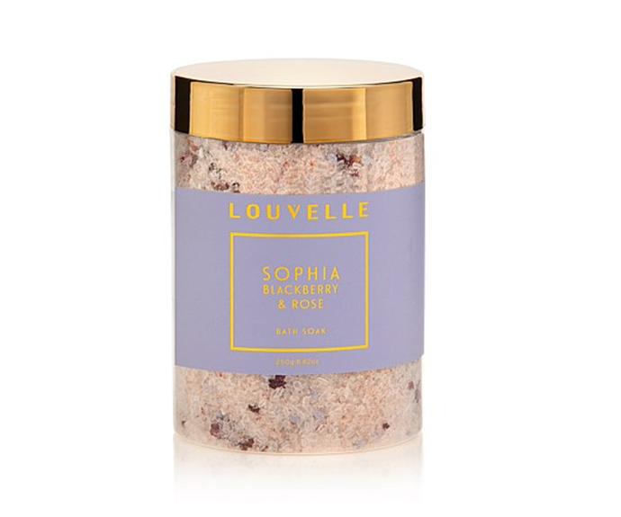 "**Sophia Blackberry & Rose Bath Soak by Louvelle, $24.95 at [David Jones](https://www.davidjones.com//23193422/Sophia-Blackberry-and-Rose-Bath-Soak.html|target=""_blank""