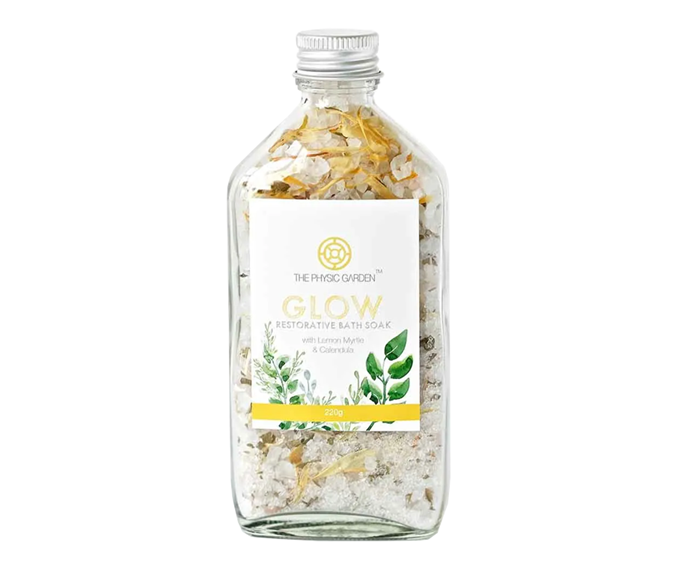 "**Glow Restorative Bath Soak by The Physic Garden, $16.95 at [Flora and Fauna](https://www.floraandfauna.com.au/the-physic-garden-bath-soak-glow-220g|target=""_blank""