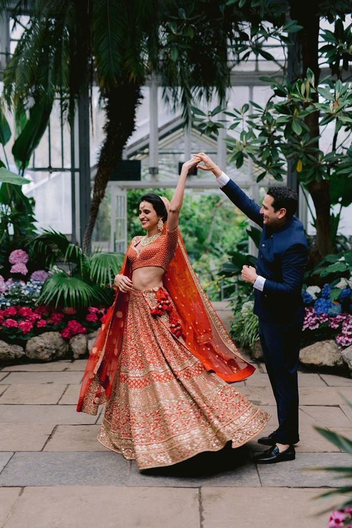 "Anjali in Sabyasachi. See more [here](https://www.harpersbazaar.com.au/bazaar-bride/indian-hindu-wedding-inspiration-19638|target=""_blank"")."