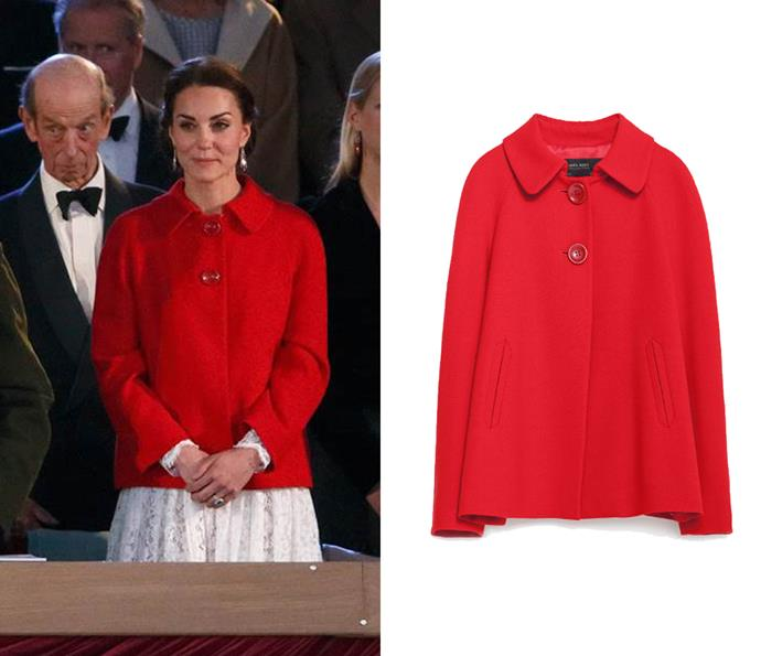 At the Queen's 90th birthday, Kate paired an $96 red ZARA coat with her Dolce & Gabbana dress.