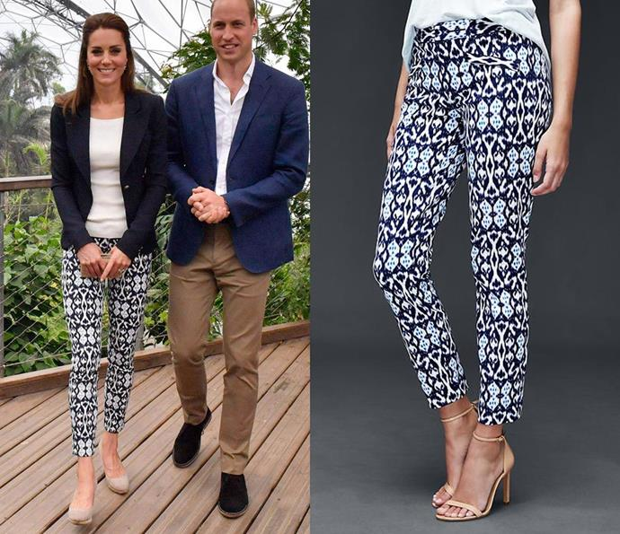 Kate wore boldly-patterned trousers by GAP which retail for just $36.90 and an H&M off-the-shoulder white rib-knit top retailing at $19.50 during a trip to Cornwall in September 2016.