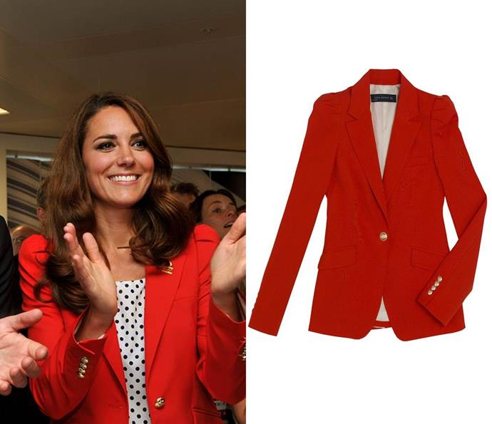In August 2012, Kate donned an $129 ZARA blazer while watching the London Olympics with William.
