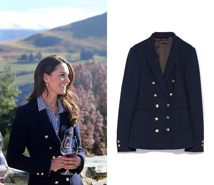 Kate has donned this ZARA blazer on numerous occasions, pictured here on the couple's April 2016 tour of New Zealand; it's undoubtedly one of her favourite wardrobe pieces.
