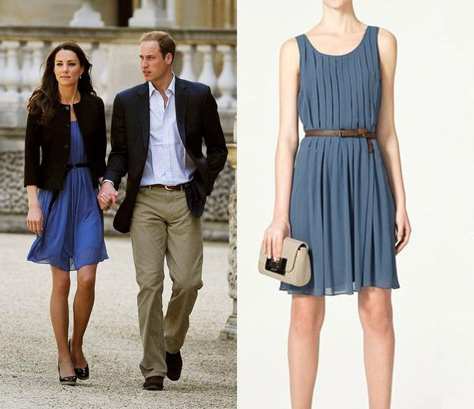 This $96 ZARA dress was worn by Kate in 2011 for her and William's 'going-away' picture after the couple's wedding; it was sold out within days.