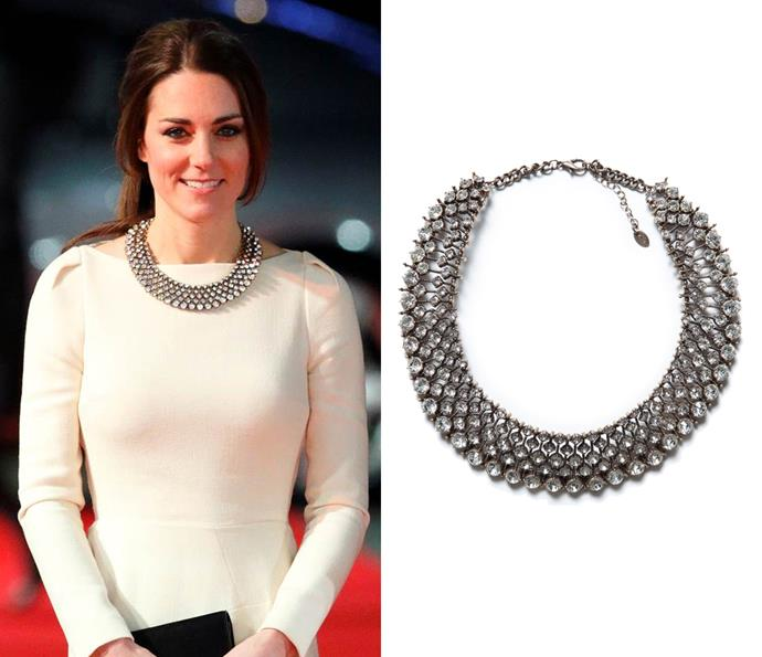 In December 2013, Kate stylishly paired a ZARA necklace which retailed for $46.70 with a couture Roland Mouret gown in London.