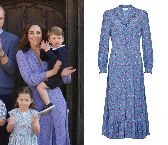"Appearing a ""Claps For Our Carers"" video in April 2020, the Duchess wore a blue floral dress by U.K. label Ghost, which retailed for $115."