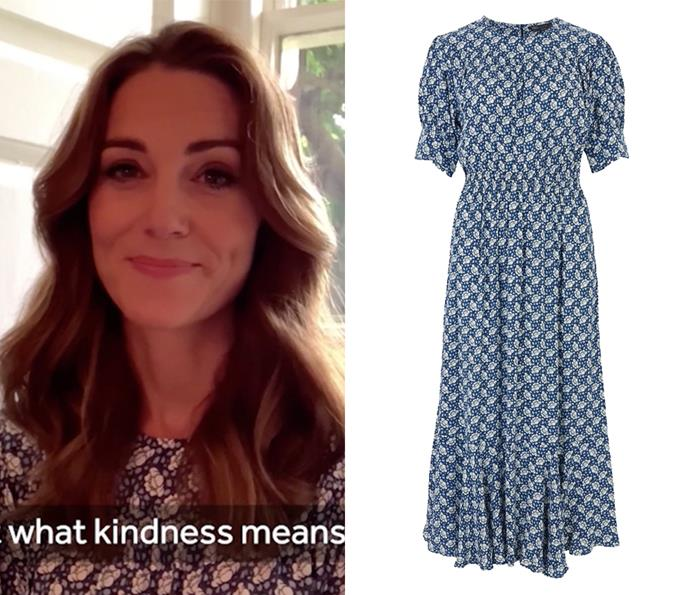 "For a recent Zoom appearance, the duchess wore this [Marks and Spencer dress](https://www.marksandspencer.com/au/printed-yoke-midi-waisted-dress/p/P60443957.html|target=""_blank""