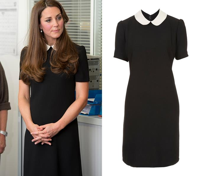 In 2013, Kate stepped out in this contrast-collar dress by Topshop.