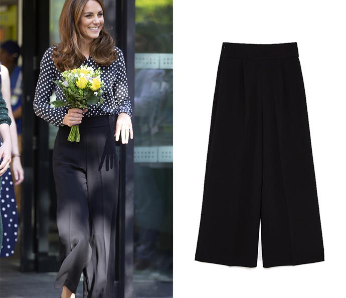 These high-waisted black pants by ZARA, worn by the duchess to a children's health event, cost just $72.