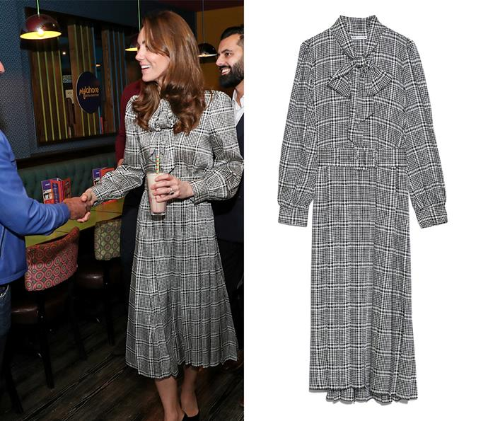 For a visit to Bradford in England, Kate wore a black-and-white houndstooth dress by ZARA, which retailed at the time for $164.