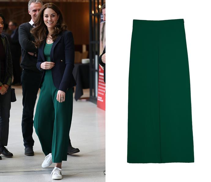 To play sports at Olympic Park in early 2020, Kate wore a pair of emerald green culottes by ZARA, which retailed for $69.95. She paired the look with a top from Mango (which came in at $19.99) and sneakers by Marks & Spencer ($50).