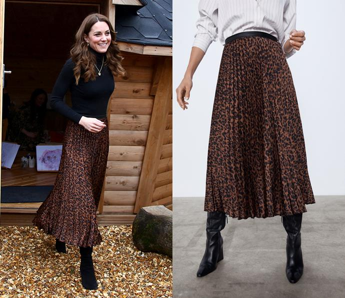 During a visit to Wales in January 2020, the Duchess wore this pleated leopard-print skirt by ZARA, which retailed at the time for just $13.