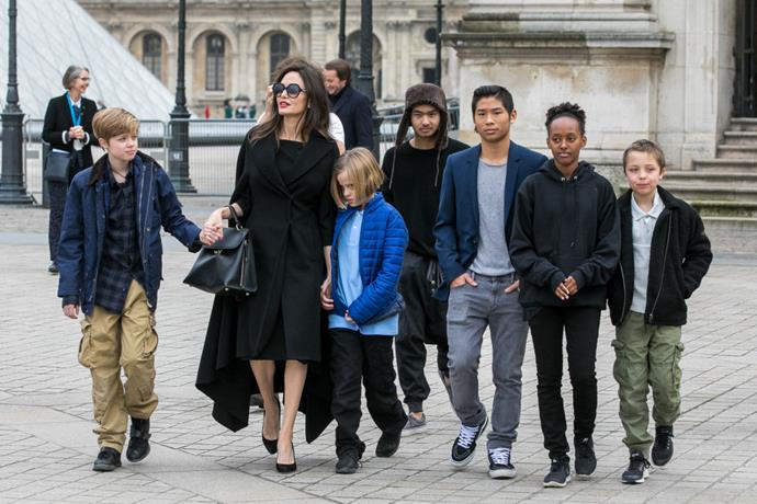 Angelina Jolie and her children Maddox Jolie-Pitt, Shiloh Jolie-Pitt, Vivienne Marcheline Jolie-Pitt, Knox Leon Jolie-Pitt, Zahara Jolie-Pitt and Pax Jolie-Pitt.