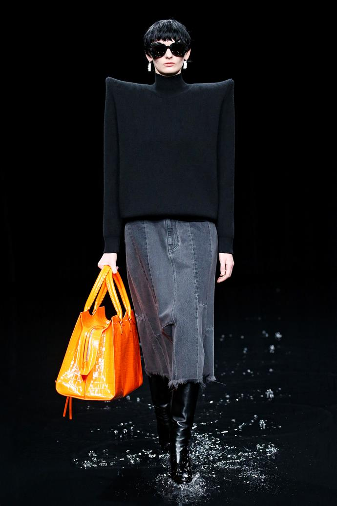 "**Balenciaga autumn/winter '20** <br><br> The [submerged runway](https://www.elle.com.au/fashion/balenciaga-submerged-runway-23104|target=""_blank"") at Balenciaga's autumn/winter '20 runway show wasn't just an aesthetic decision, but a politically-charged one. By soaking the runway and front rows in murky water, creative director Demna Gvasalia made a pointed statement about the impacts of climate change on the fashion industry—and the responsibility of the industry itself to make change. <br><br> Coming after the 2019/2020 Australian Bushfire Crisis, the show's apocalyptic message (and amazing set visuals) felt especially timely. <br><br> **Watch the moment below.**"