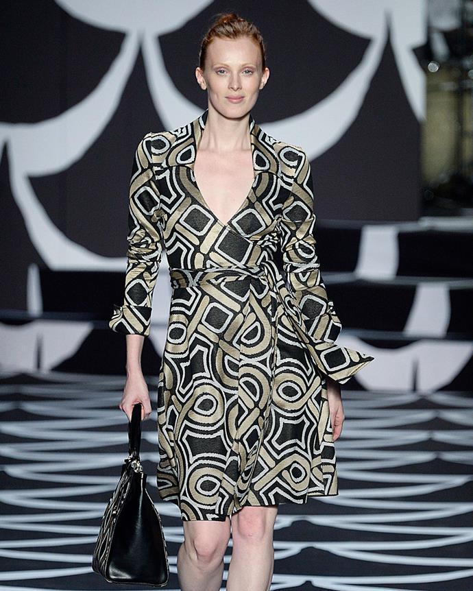 ***2002: Diane von Furstenberg's wrap dress***<br><br> Pictured: Model Karen Elson wearing a Diane von Furstenburg wrap dress on the autumn/winter 2014 runway.