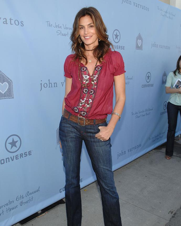 ***2007: True Religion's Joey boot-cut jeans***<br><br> Pictured: Cindy Crawford wearing True Religion's boot-cut jeans in 2008.