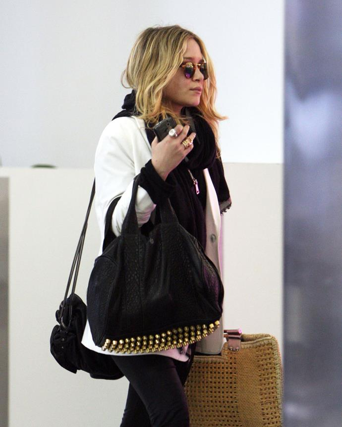 ***2010: Alexander Wang's Rocco bag***<br><Br> Pictured: Mary-Kate Olsen with the Rocco bag in 2010.