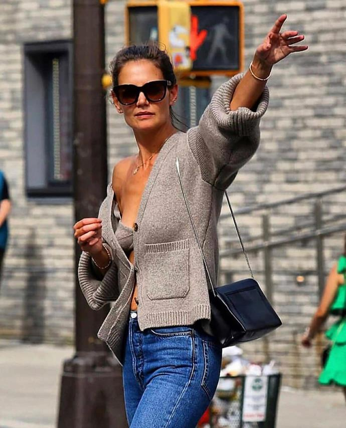 "***2019 bonus: Khaite's cashmere bra and cardigan***<br><br> Pictured: Katie Holmes wearing the bra and cardigan in 2019.<br><br> Image via [Khaite's Instagram](https://www.instagram.com/p/B6OyfmZA2WZ/|target=""_blank""