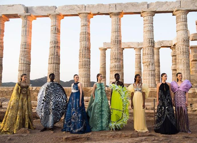 """**Mary Katrantzou spring/summer '20** <br><br> Greek couturier Mary Katrantzou (a favourite of the likes of Rihanna and Michelle Obama) showed at the Temple of Poseidon in Athens for her spring/summer '20 runway show—and if the goddess-like garments weren't enough, the background (an ancient temple in dusk lighting) was instantly-memorable. <br><br> *Image: Instagram [@marykatrantzou](https://www.instagram.com/p/B3UQAJ1FZj8/