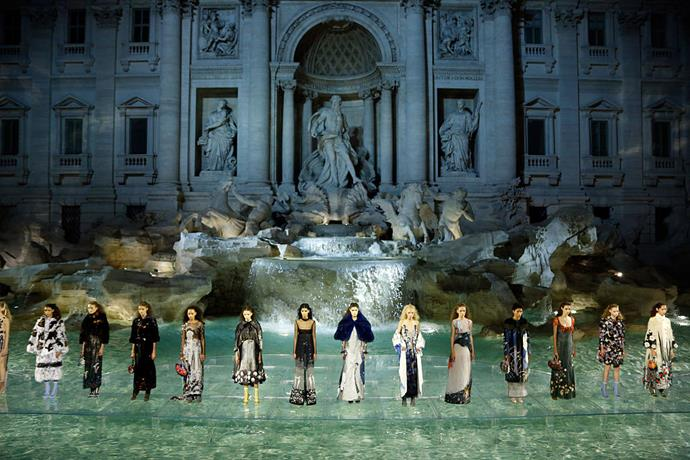 **Fendi 90th anniversary show 2016** <br><br> Fendi's 90th anniversary show in 2016 somehow utilised Rome's iconic Trevi Fountain (one of the most-visited tourist attractions in the world) as a set. With models like Bella Hadid and Kendall Jenner walking across the turquoise water on a clear runway (making them appear to float at the finale), this was as close as a fashion show could get to a dream.