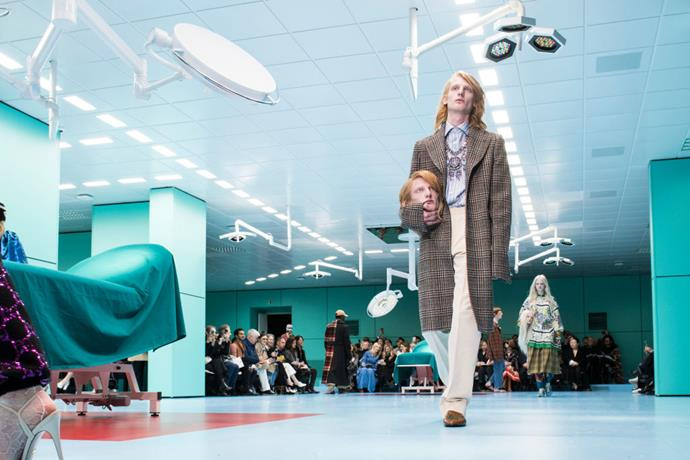 **Gucci autumn/winter '18** <br><br> Once we got past the casts of models' decapitated heads and literal baby dragons on the runway, the set of Gucci's autumn/winter '18 show was a sight to behold. True to creative director Alessandro Michele's quirky vision, the set portrayed a sterile, disconcerting surgery room, made even more alien by harsh, unforgiving LED lights.