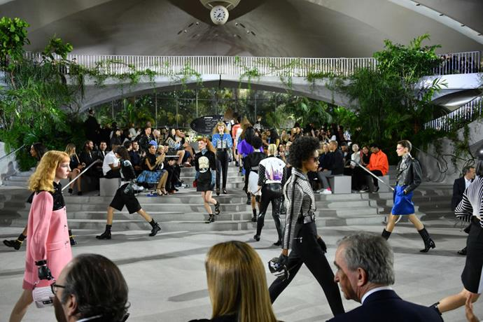 **Louis Vuitton Cruise 2020** <br><br> As a brand, Louis Vuitton embodies the 'spirit of travel', so it was only fitting that their cruise '20 show was held in one of the most iconic airports in the world. For the event, creative director Nicolas Ghesquière booked out the iconic TWA Terminal at New York's JFK Airport, which is famous for its space-age design.
