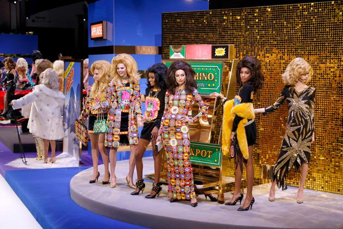 **Moschino autumn/winter '19** <br><br> As if Jeremy Scott weren't able to one-up himself in terms of campness, the designer's autumn/winter '19 Moschino show evoked a '60s Vegas casino, and saw supermodels Adut Akech, Irina Shayk and more try their luck on fake pokies machines.