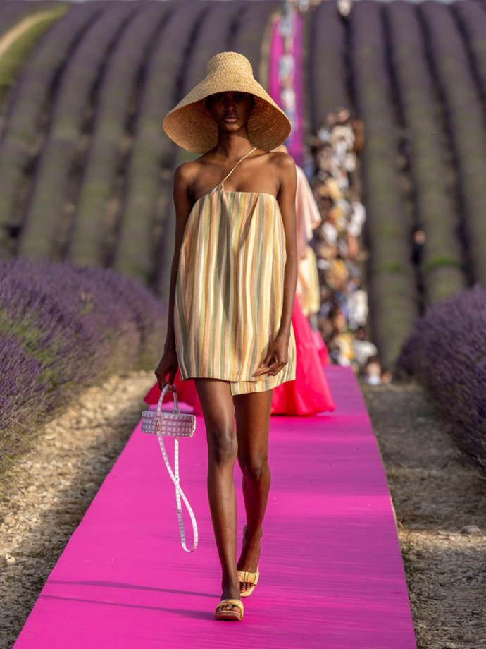 **Jacquemus menswear spring/summer '20** <br><br> A visual that few fashion lovers will ever forget, Simon Porte Jacquemus showed his unisex menswear spring/summer '20 collection in the South of France, in the middle of a blooming lavender field. Juxtaposed by the purple catwalk and the effortless clothes, this was a career-best moment for the designer.