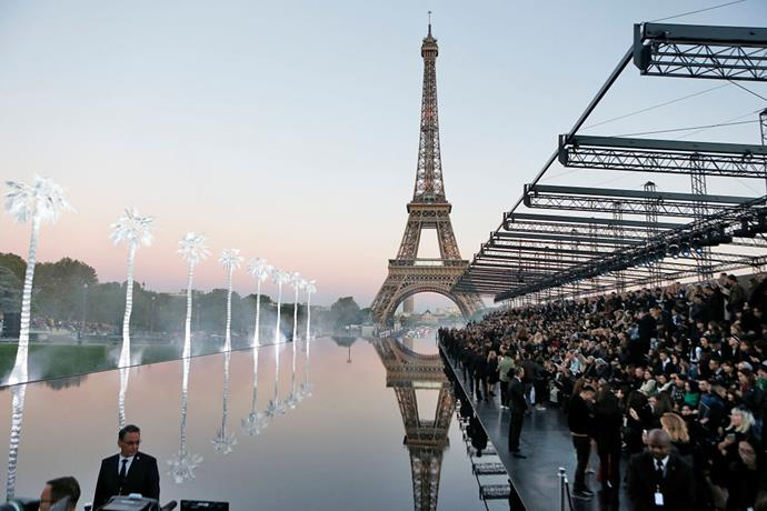 **Any Saint Laurent runway** <br><br> For the past few years, Saint Laurent has taken to showing their collections outside the Eiffel Tower in Paris, but the brand's spring/summer '19 show was arguably the most special. Models walked the runway in shallow water, in front of palm trees that were spray-painted white.