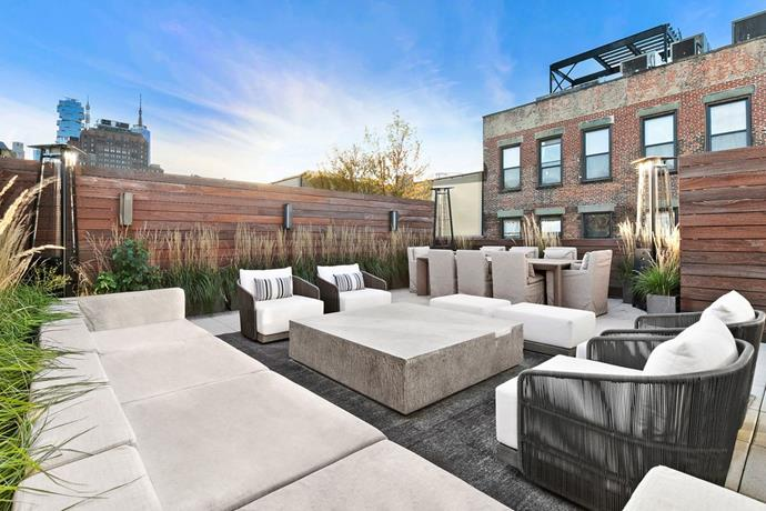 The private rooftop terrace that overlooks Manhattan. <br> *Corcoran*