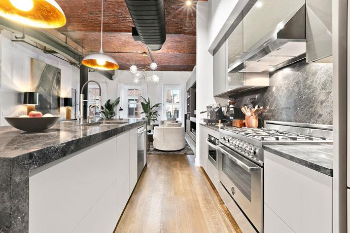 The kitchen, including charcoal counter tops. <br> *Corcoran*