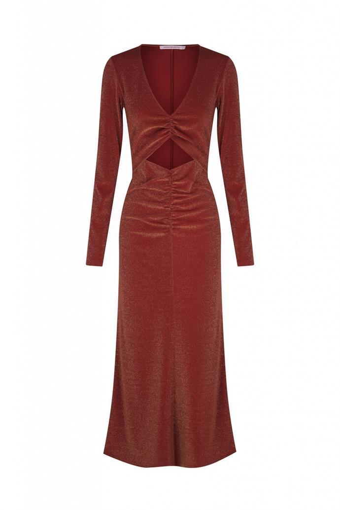 "GUILIANA DRESS in Amber, $299 by [Hansen and Gretel](https://hansenandgretel.com/shop/clothing/dresses/guiliana-dress-amber/|target=""_blank""|rel=""nofollow"")"