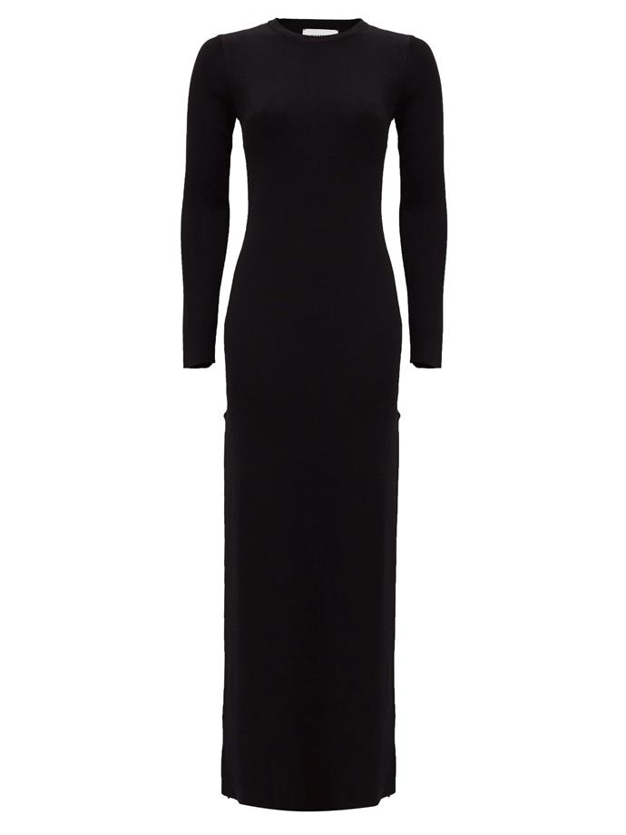 "The Long Sleeve Knit Maxi Dress, $480 by [Matteau](https://matteau-store.com/collections/apparel/products/the-long-sleeve-knit-dress?variant=31471111667790|target=""_blank""|rel=""nofollow"")."