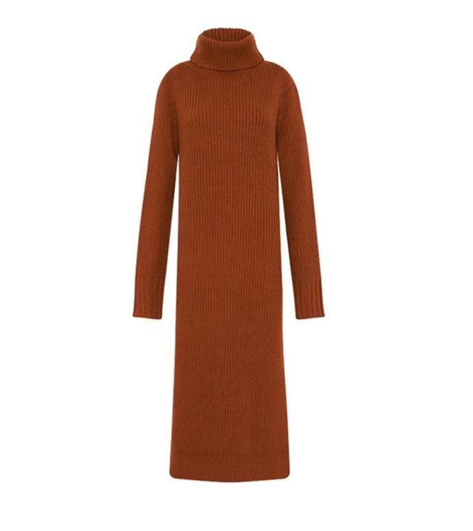 "Theodore Knit Dress, $650 by [Camilla & Marc.](https://www.camillaandmarc.com/products/theodore-knit-dress-rust|target=""_blank""|rel=""nofollow"")"