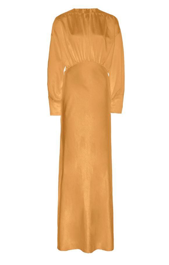 "Theodora Dress in Marigold, $739 by [Paris Georgia](https://shop.parisgeorgiastore.com/collections/all-products/products/ss20-theodora-dress?variant=32043450859602|target=""_blank""|rel=""nofollow"")."