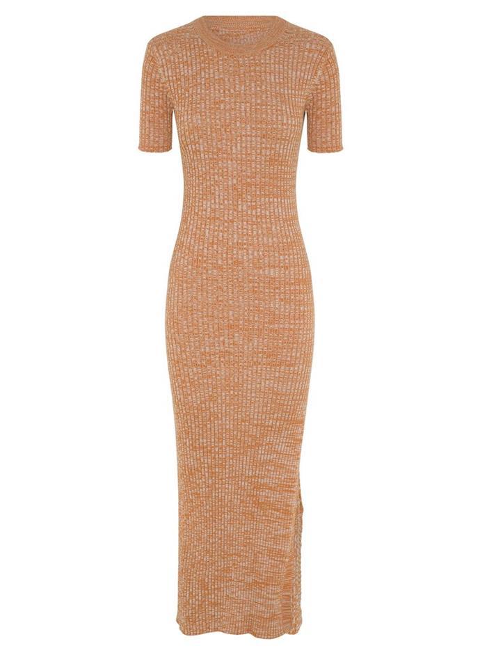 "Melina Dress in Tangerine Melange, $350 by [Anna Quan](https://annaquan.com/products/melina-dress-tangerine-melange-1|target=""_blank""|rel=""nofollow"")."