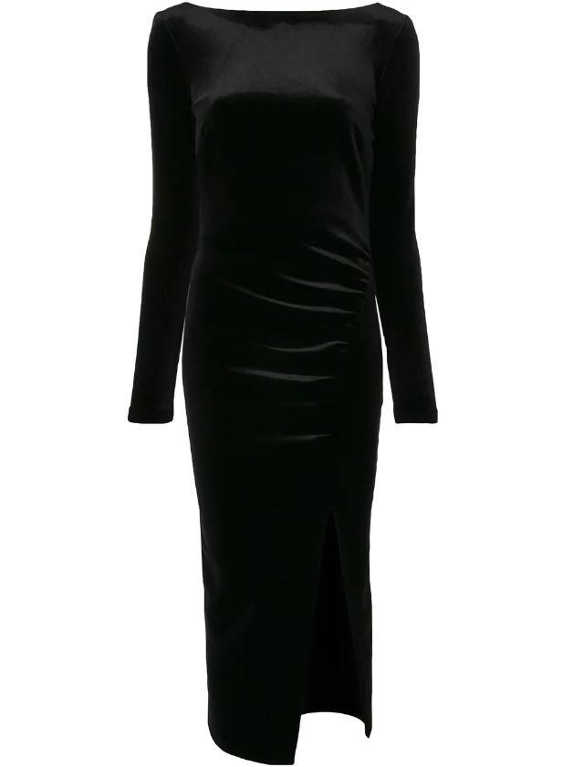 "Midnight Soiree Long Sleeve Velvet Dress, $280 by [Bec &  Bridge](https://www.becandbridge.com.au/products/midnight-soiree-l-s-midi-dress-black|target=""_blank""|rel=""nofollow"")."