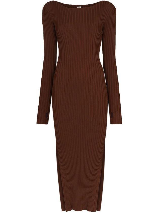"orville ribbed midi dress, $538 by Totême at [Farfetch](https://www.farfetch.com/au/shopping/women/toteme-orville-ribbed-midi-dress-item-15335930.aspx?storeid=9359|target=""_blank""|rel=""nofollow"")."