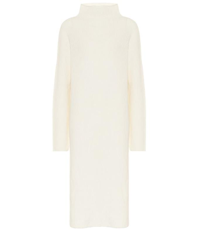 """moa wool and cashmere midi dress, $1,865 by the row at [mytheresa](https://www.mytheresa.com/en-au/the-row-moa-wool-and-cashmere-midi-dress-1411378.html?rd=1