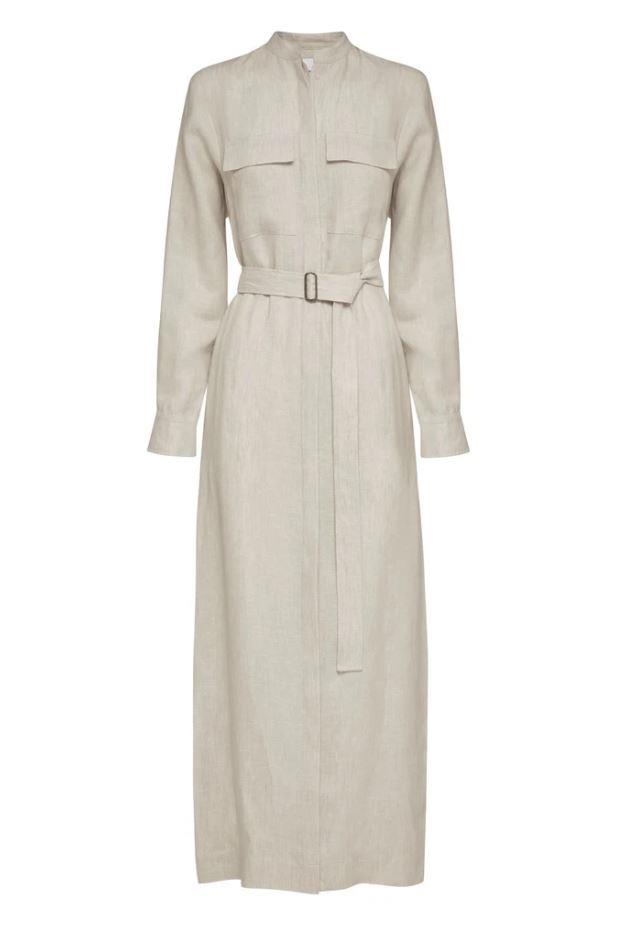 "Utility Long Dress in White Herringbone, $950 by [Bondi Born.](https://bondiborn.com/collections/dresses/products/utility-long-dress-white?variant=33244266561580|target=""_blank""|rel=""nofollow"")"