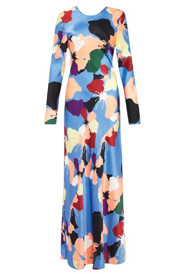 """full sleeve bias cut dress in warhol, $490 by [silk laundry](https://silklaundry.com.au/collections/dresses/products/full-sleeve-bias-cut-dress-warhol-1